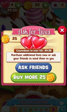 Cookie Jam, Buy Lives / Ask For Lives Screen - Match 3 Game - iOS Game - Android Game - UI - Game Interface - Game HUD - Game Art