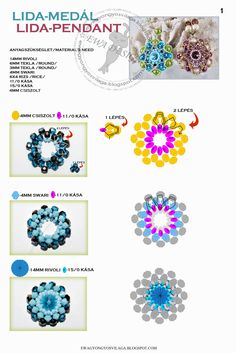 LIDA Pendant - FREE Tutorial by Ewa Design. Page 1/4. Use: Rivoli 14mm, round beads 6mm and 3mm, bicone beads 4mm, rice beads 6x4mm, seed beads 11/0 and 15/0, faceted beads 4mm.