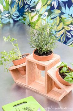 Create a countertop herb garden with this 15 minute craft. Clay pots and a cedar fence picket are turned into a beautiful kitchen herb planter. Use it for a beautiful indoor herb garden or as a fun tabletop garden for your patio. Herb Planters, Wooden Planters, Planter Boxes, Bamboo Planter, Woodworking Projects Diy, Diy Wood Projects, Wood Crafts, House Plants Decor, Plant Decor