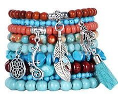Beaded Bracelets Set of 9 Stretch Bracelets Bohemian Southwestern Themed Stack with Silver Tone Charms and Tassels