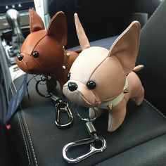 French Bulldog Leather Keychain