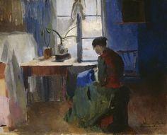 Woman Sewing by Harriet Backer