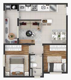 Apartment Layout, Apartment Plans, Apartment Design, Sims 4 House Design, Small House Design, Small House Plans, House Floor Plans, Plan Duplex, House Construction Plan