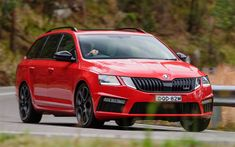 Download wallpapers 4k, Skoda Octavia RS245, road, 2018 cars, motion blur, wagons, red Octavia, Skoda