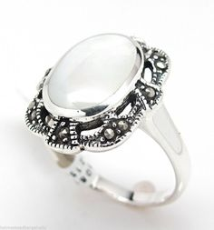 Mother of Pearl Marcasite 925 Solid Sterling Silver Ring Size 6 - 9 NWT