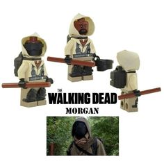 The Walking Dead MORGAN+MASK minifigure action figure made with Lego daryl