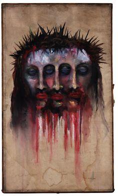 "rismegistus | 23"" X 7"" X 38"" | Watercolor painted on embalming table  M. Manson"