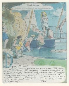 Edward Ardizzone: Sketches for Friends Edward Ardizzone, Drawing Sketches, Drawings, Life Aquatic, Drawing Lessons, Mail Art, Book Illustration, Beach Day, Art Reference