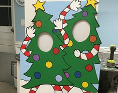 Winter Wonderland Photo Booth Prop, Christmas Tree Duo Face in Hole Photo Op Stand in, Outdoor Decoration Display Board