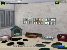 Five different beds for our small pets, in different styles and colors to adapt them to all environments and styles and a carpet and a group of paintings  Found in TSR Category 'Sims 4 Pet Object...