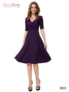 Sexy V-neck Purple 3/4 Sleeve High Stretch Short Casual Dress