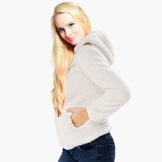 48c9467426d Women Girls Plus Size Snuggle Fleece Blouse Zip Fluffy Warm Hooded  Sweatshirt Hoodie Ladies Loose Sweatshirt Jacket With Hood