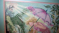 Vintage needlepoint LARGE princess pink iris art FRAMED girls bedroom fairy tale