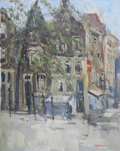 Impressionistic city view at Amsterdam - oil on canvas - Jan Kelderman (1914-1990).