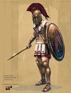 Greek hoplite, the Lambda symbol on his shield belongs to Sparta. Greek Warrior, Fantasy Warrior, Greek History, Ancient History, Ancient Rome, Ancient Greece, Ancient Sparta, Greek Soldier, Roman Empire