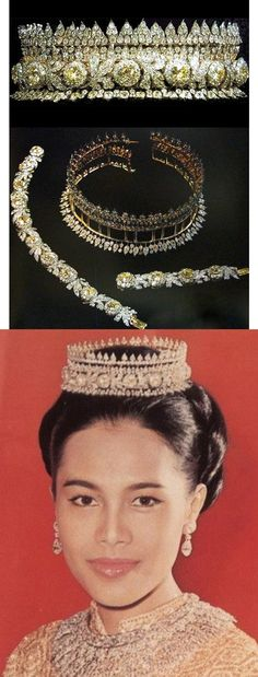 Queen Sirikit wearing the traditional Thai tiara, made by diamonds and gold.