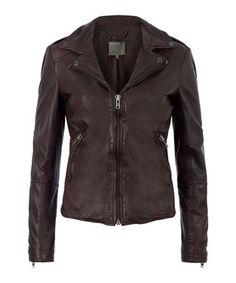 Sabi brown leather biker jacket  Sale - Muubaa Sale