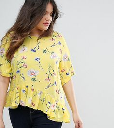 ASOS CURVE Tee with Asymmetric Ruffle Hem in Yellow Floral - Multi