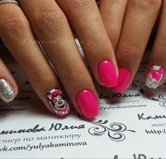 Cute nails, Drawings on nails, Easy nails for girls, Glitter nails ideas, Kid nails with pattern, Manicure by summer dress, Mickey mouse nails, Painted nail designs