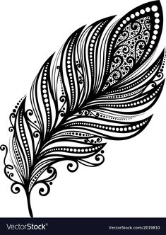Photo about Peerless Decorative Feather (Vector), Patterned design, Tattoo. Illustration of black, vector, element - 35235162 Arrow Feather, Feather Art, Feather Tattoos, Bird Feathers, Vector Pattern, Pattern Design, Small Arrow Tattoos, Tattoo Arrow, Tattoo Posters