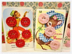 Vintage Buttons Sewn onto Vintage Children's Playing Cards