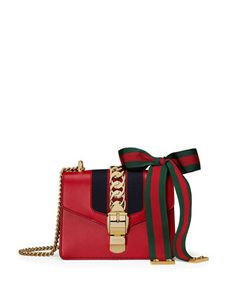 Sylvie Leather Mini Chain Shoulder Bag, Red by Gucci at Neiman Marcus.