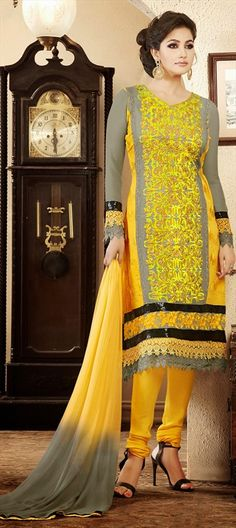 413310, Party Wear Salwar Kameez, Faux Georgette, Zari, Thread, Resham, Yellow Color Family