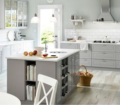 Fancy Ikea Grey Kitchen Cabinets Large Grey Country Kitchen With A Lot Of Drawers, Wall Cabinets And Ikea Kitchen Design, Ikea Kitchen Cabinets, New Kitchen Designs, Kitchen Trends, Kitchen Decor, Wall Cabinets, White Cabinets, Kitchen Ideas, Kitchen Paint