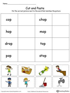 **FREE**OP Word Family Match Picture with Word in Color. Challenge your child logically while providing them with the opportunity to learn the word definition and spelling.