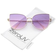 1cb82958e1 Women s Oversize Slim Metal Frame Gradient Colored Flat Lens Cat Eye  Sunglasses 58mm from zeroUV at