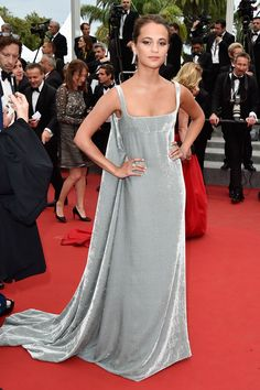 Alicia Vikander wore a Valentino Couture silver gown - Cannes Film Festival (click through for the full gallery)