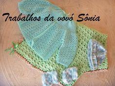 Trabalhos da vovó Sônia: Conjunto para bebê verde-água Dudu - crochê