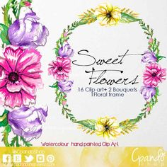 Floral Clipart Wedding Hand Drawn Watercolor Flowers Clipart Flower Floral Clipart Instant Download Scrapbooking watercolor clipart