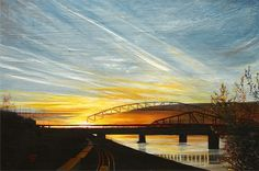 Missouri River Sunset 2011, 24x36. This piece is not currently for sale. If you are interested in something like it please contact Karrol at karrol.combs@me.com or call 816 582-1429