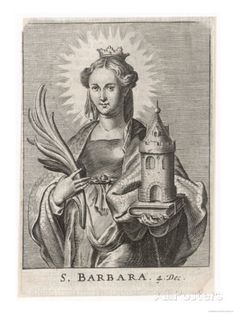 st barbara's tower | Saint Barbara Carrying a Tower to Symbolise the One Giclee Print