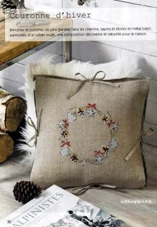 Cross Stitch Tree, Cross Stitch Flowers, Cross Stitch Charts, Cross Stitching, Cross Stitch Embroidery, Hand Embroidery, Christmas Pillow, Christmas Cross, Rico Design