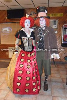 Homemade Mad Hatter and Queen of Hearts Costumes: We both love Halloween but it was our first one together so we went all out and made these Homemade Mad Hatter and Queen of Hearts Costumes. .  For Mad