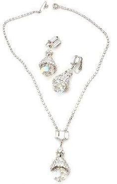Vintage Crystal Clear Rhinestone Set Necklace Earrings Prong Set 2 Piece