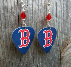Boston Red Sox B Guitar Pick Earrings with Red Crystals by ItsYourPickToo on…
