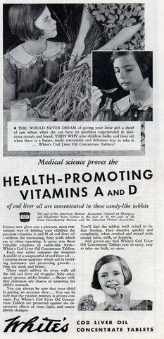 White's Cod Liver Oil Concentrate Tablets- promoting Vitamins A and D  November 1934.