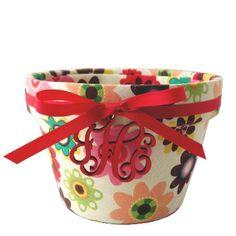 4 Inch Monogrammed Garden Party Flower Pot - Morgan & Company $22.00