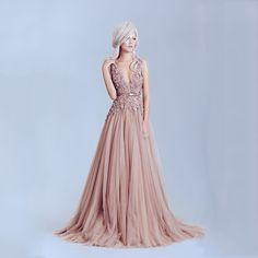 Dusty Pink Vintage Lace Appliques Long Evening Dresses 2015 Pearl Backless Deep V-neck Prom Dress Evening Gowns vestido de festa