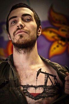 Oil rig heart tattoo