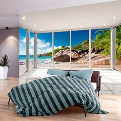 murando Fotomurali 400x280 cm | 3 colori da scegliere - Carta da parati sulla fliselina - Hit - Carta da parati in TNT - Quadri murali XXL - Fotomurale Paesaggio Naturaleza Spiaggia Mare Palma c-C-0068-a-a