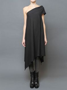 **Rick Owens ~Gray, one shoulder cotton dress with asymmetric hem