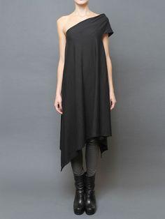 **Rick Owens ~Gray, one shoulder cotton dress with asymmetric hem