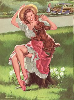 Vintage Pin up Art Girl and Dog Woodie