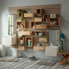 To save space in the bathroom, install wooden storage boxes - Family Room Walls, Crate Storage, Storage Boxes, Minimalist Decor, Simple House, Home Decor Accessories, Cheap Home Decor, Home Remodeling, Industrial Furniture