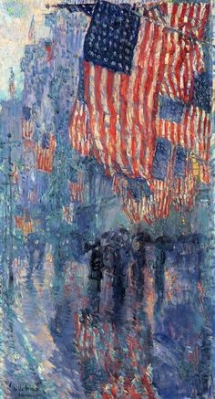 Childe Hassam:  The Avenue in the Rain, completed February 1917. The 'avenue' is Fifth Avenue, New York.