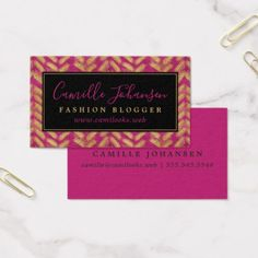 Modern Pattern Hot Pink & Gold Professional Business Card - trendy gifts cool gift ideas customize